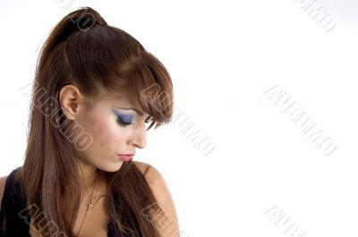 glamorous model looking downward