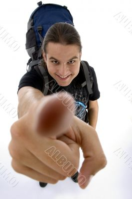 close up view of young traveler`s finger