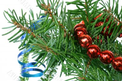 Fir tree branch with cristmas decoration on a white background.