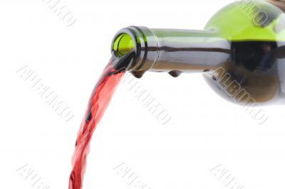 Open wine bottle close up