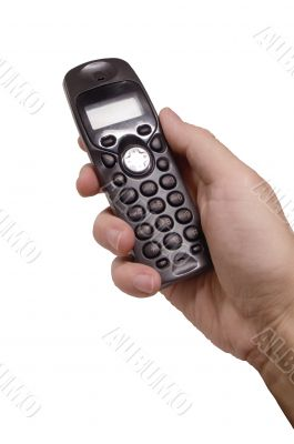 telephone in man`s hand with clipping path