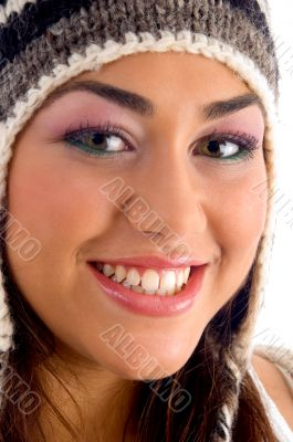 beautiful face of woman wearing cap