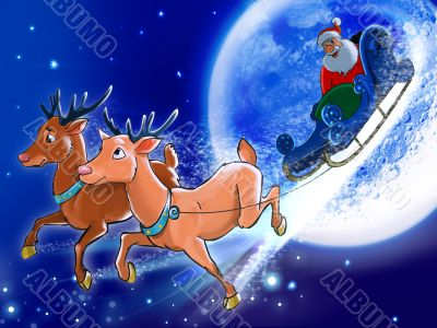 Santa is riding deers on the back of the Moon.