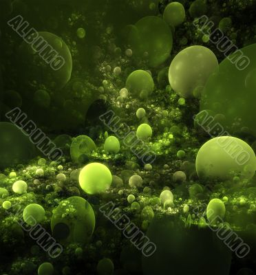 abstract green balls background