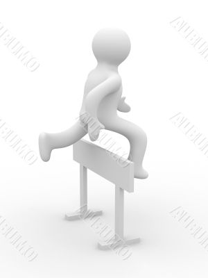 sportsman overcoming an obstacle in a white background. 3D image