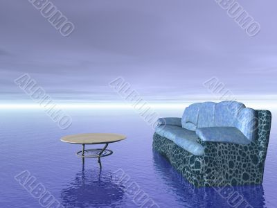 comfort concept: sofa and table furniture over ocean water and blue sky