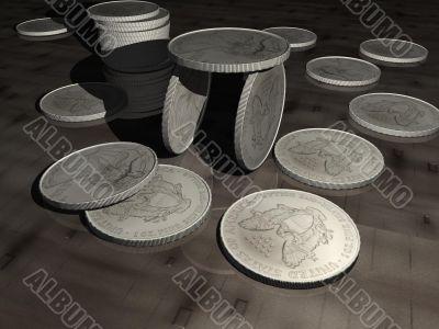 coins, money, business, finance, 3D, illustration