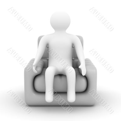 person sitting in an armchair. Isolated 3D image