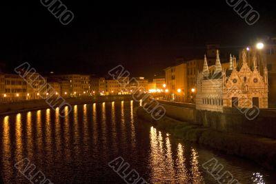 Pisa (Tuscany) - The Arno river illuminated at night