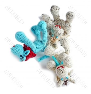 Cows-toys from a wool