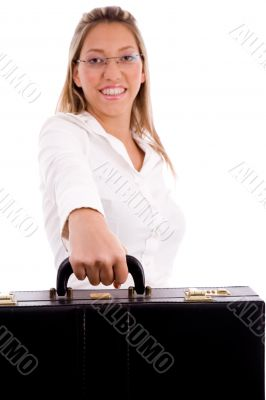 front view of smiling lawyer holding briefcase