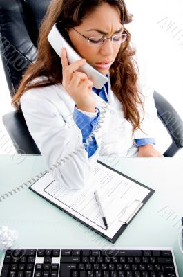 medical professional talking on phone