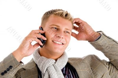 businessman busy with phone call