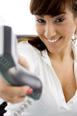 happy female holding phone receiver accountant