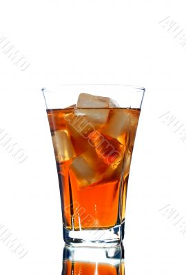 ice filled soft drink isolated on white