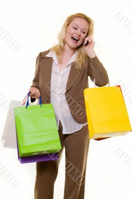 Excited shopper on the phone