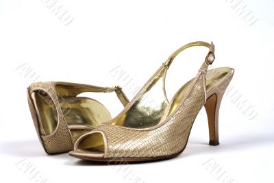 Pair of Gold Women`s High-Heel Shoes