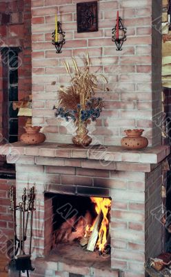 Warm of the village kitchen fireplace