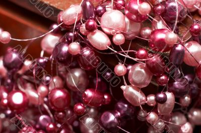 Beautiful fake pink pearl necklace
