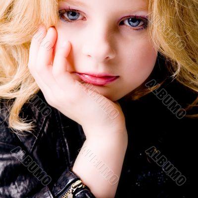 Depressive child with jacket