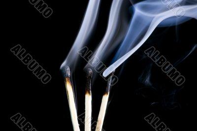 match with smoke close up