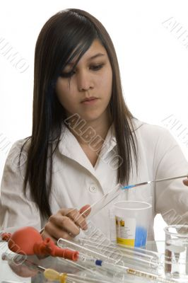 Female student at the education in chemistry