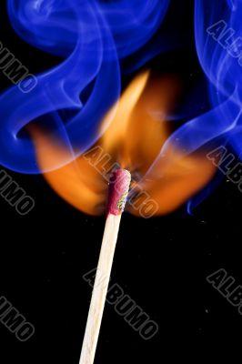 match on fire closeup