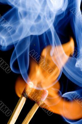 match on fire on black