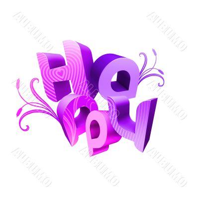 Happy Valentine`s Day Illustrated Types II Violet
