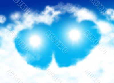 Double heart shaped cloud
