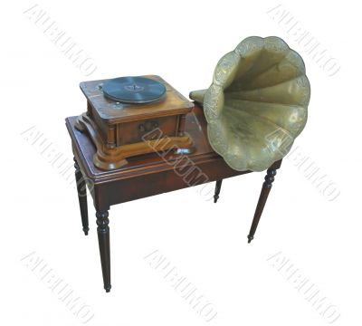 Ancient retro gramophone isolated over white background