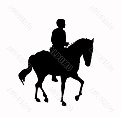 silhouette of the rider