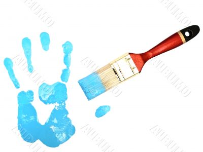 hand print near bristle in blue