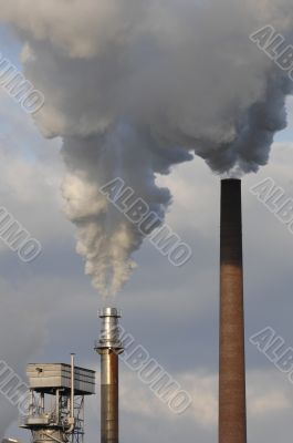industry pipe with pollution