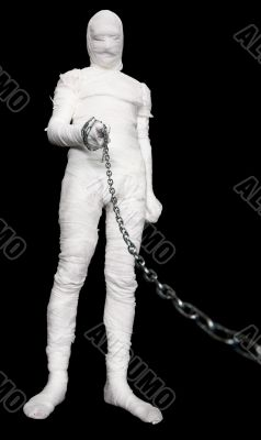 Man in costume mummy with chain