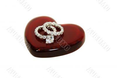 Diamond engagement ring on heart