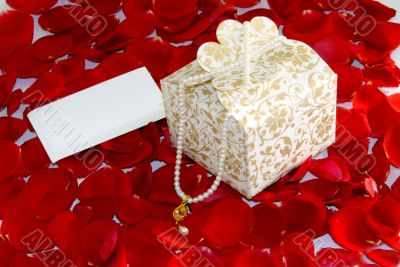 valentine gift pearl on Rose petals
