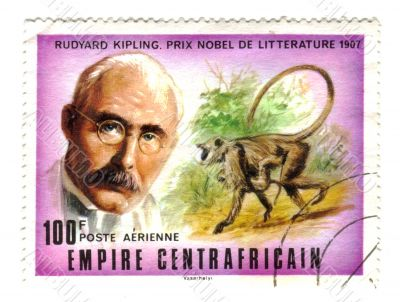 central african stamp with Kipling