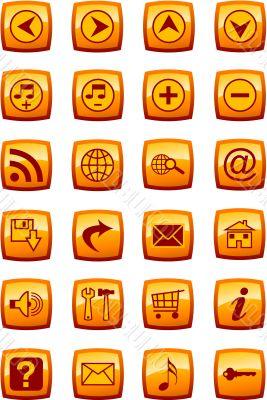 Vector illustration of glossy multimedia icon set