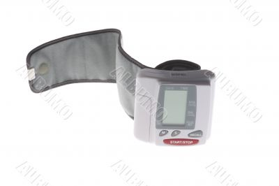 blood pressure monitor on white