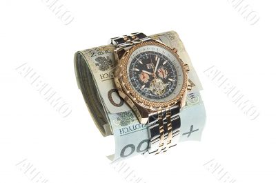 Luxury gold watch around polish banknotes