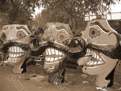 Ravana head effigies for Dussehra festival sepia