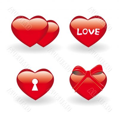 four icons with hearts for st.Valentine day