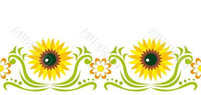 Seamless ornament with  sunflower