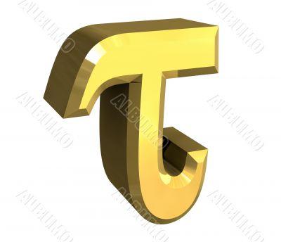 tau symbol in gold - 3d made