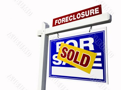 Blue Sold Foreclosure Real Estate Sign on White