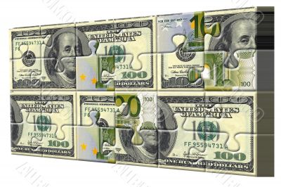 Euro and dollar puzzle pieces world finance concept
