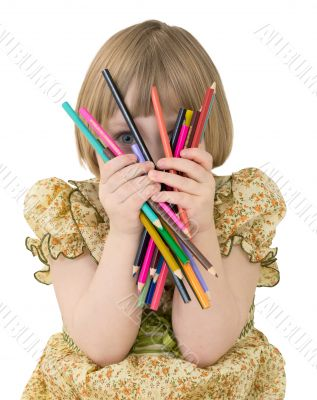 Little girl with crayons