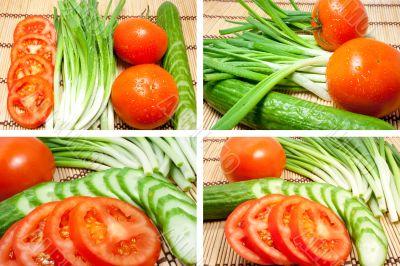 Mixed freshness vegetables
