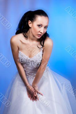 flirt girl in white wedding dress